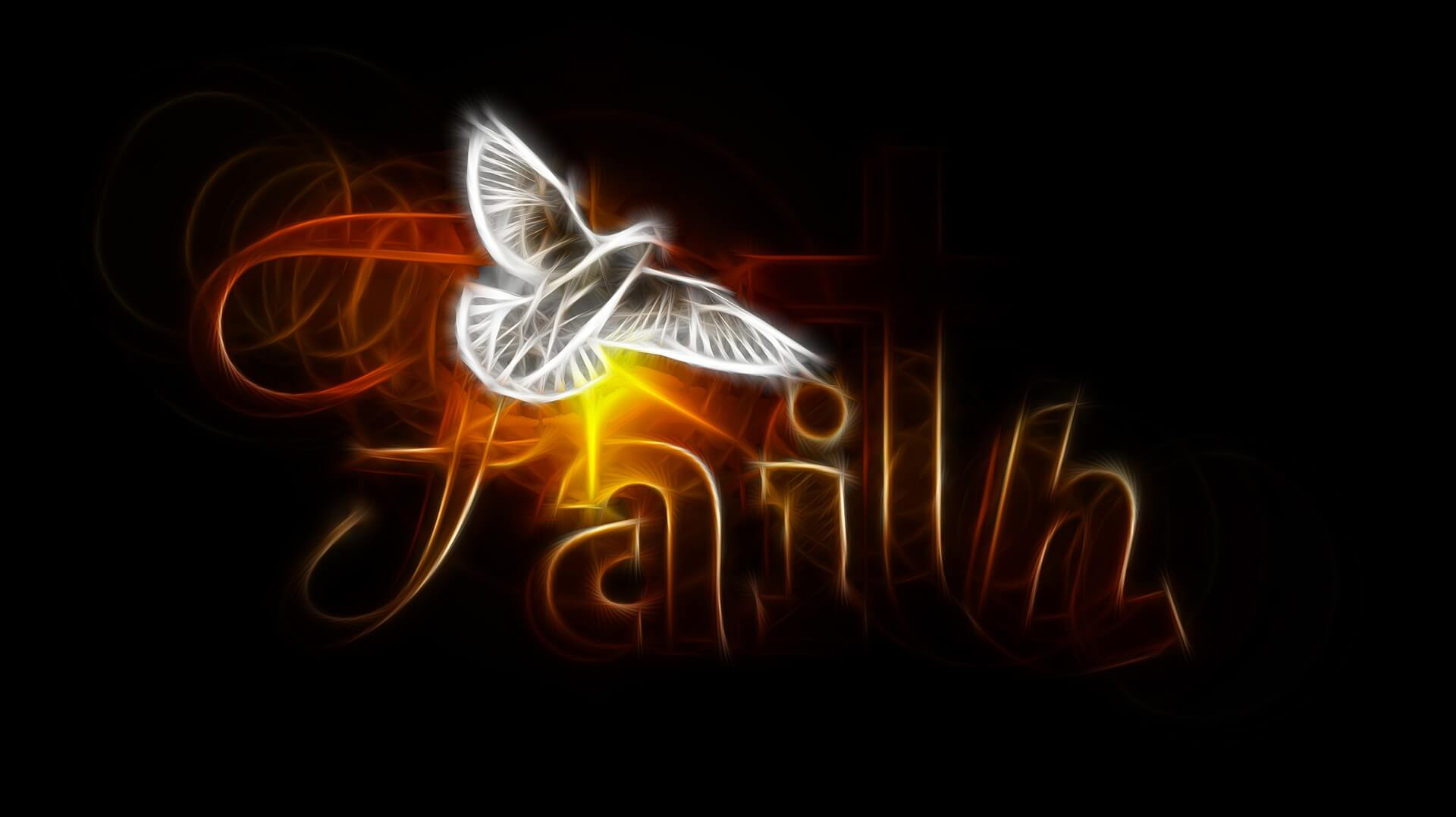"""A dove flying in front of the word """"Faith"""""""